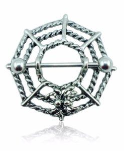 Gothic Spider Web Surgical Steel Barbell Nipple Ring Jewelry