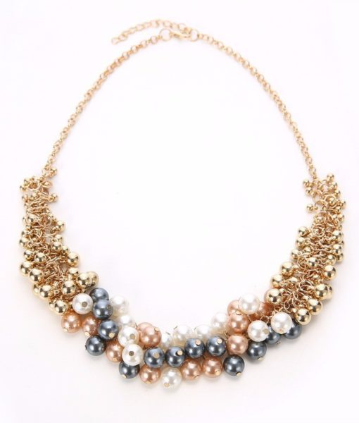Extravagant Rounded Pearl And Gold Plated Beads Necklace Jewelry