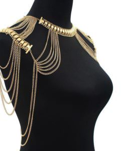 Vintage Gold Plated Shoulder Chain Necklace Jewelry