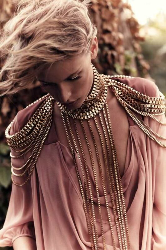 Gold Punk Box Chain Multilayer Shoulder Chain Necklace
