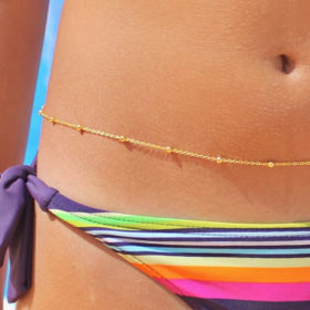 Summer Gold Plated Bikini Belly Chain With Round Beads