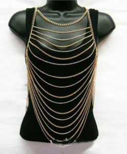 Sexy Gold Plated Summer Body Chain Necklace Jewelry For Bikini