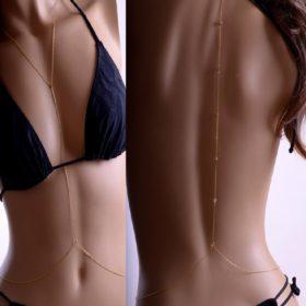 Sexy Backdrop Crystal Beaded Body Chain Beach Jewelry