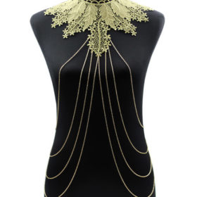 Elegant Party Gold/ Black Lace Necklace With Body Chain