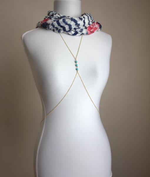 Gold Body Chain Body Harness long necklace with Turquoise beaded Bikini jewelry Beach chain Girlfriend Gift Body Jewelry