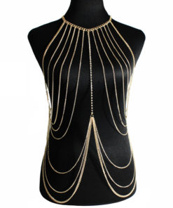 Multi-layer Body Chain Jewelry With Rhinestone Beaded Chain Accent