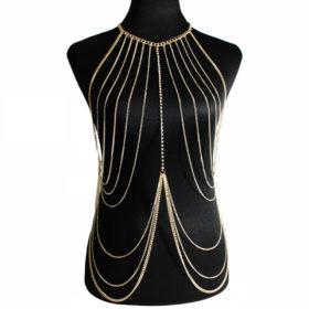 Multi-layer Body Chain Jewelry With Rhinestone Beaded Chain Accent