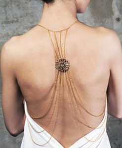 Sexy Gold Multilayer Shoulder Body Chain With Circular Back Accent