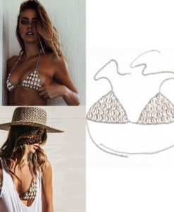 Sexy Summer Natural Shell Mesh Body Chain Harness Bikini Top