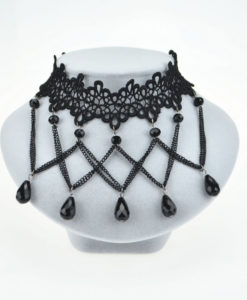 Soft Black Lace Choker Necklace With Black Crystal Beads And Pendants