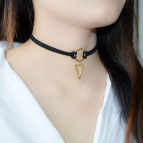 Double Leather Strap Choker Necklace With Gold Plated Pendant