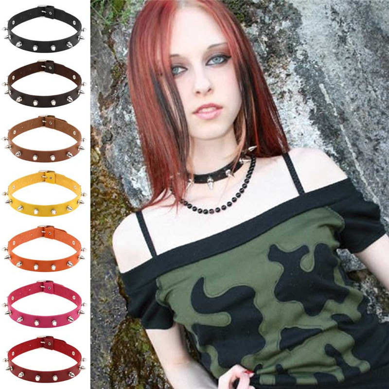 Punk Style Spiked Leather Choker Necklace In Different Colors
