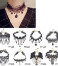 Gothic Victorian Crystal Tassel Tattoo Choker Necklace For Women