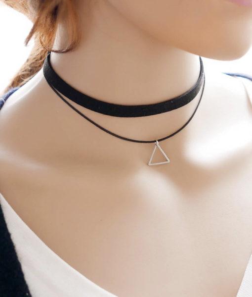 Black Imitation Leather Choker Necklace With Geometric Shaped Pendant