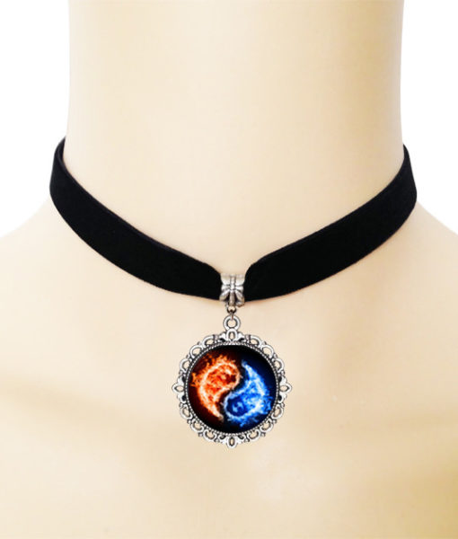 European Black Choker Necklace With Yin Yang Glass Art Picture Pendant