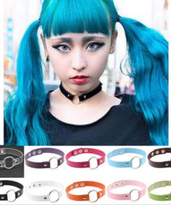 Harajuku Grunge Gothic Anime Leather Choker In Various Colors