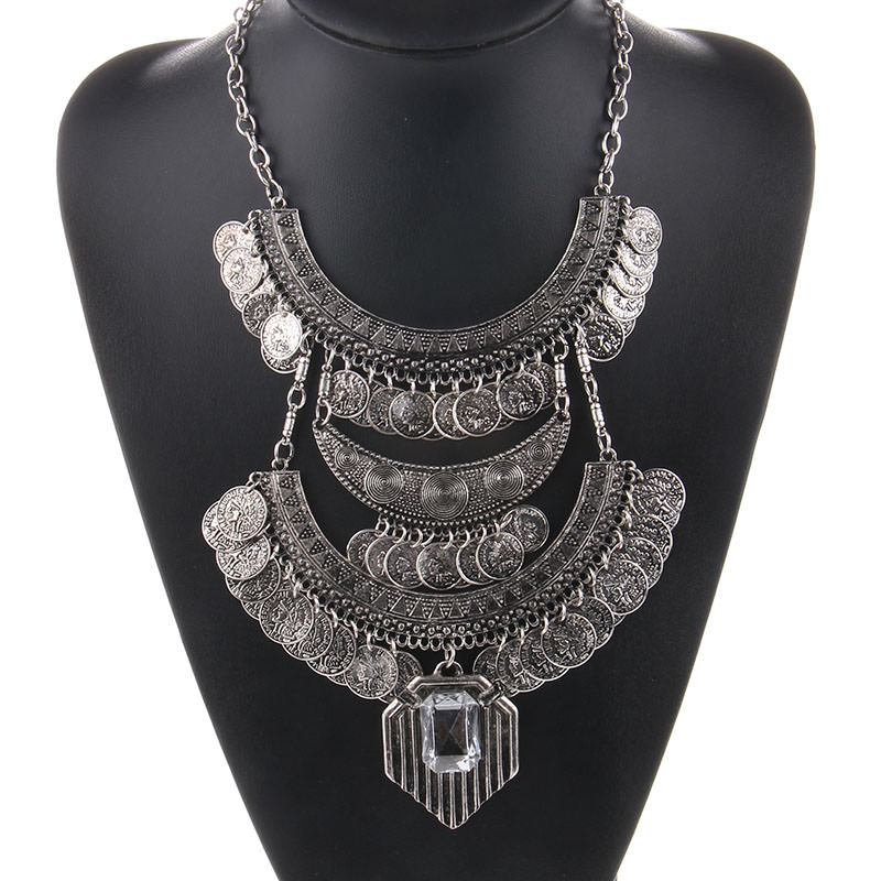 Large bohemian coin choker necklace with crystal pendant accent aloadofball Gallery