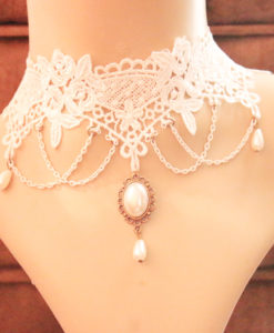 Delicate White Lace Wedding Chain Choker Necklace