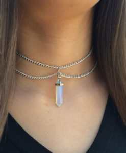 Double Chain Adjustable Choker Necklace with Crystal Pendant