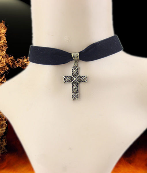 Sexy Gothic Velvet Strip Choker Necklace With Cross Pendant