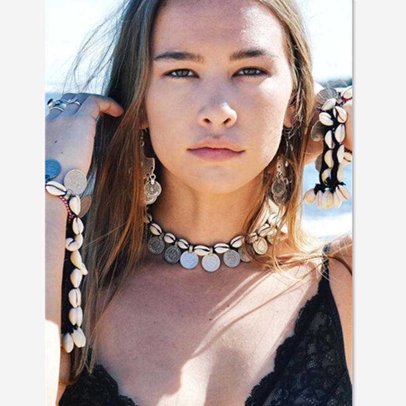 Tribal Coin And Shell Choker Necklace