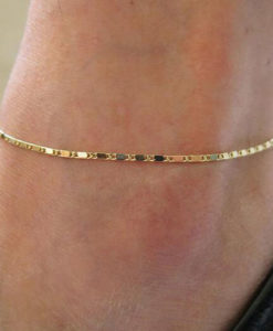 Simple Gold Or Silver Plated Box Chain Anklet Jewelry