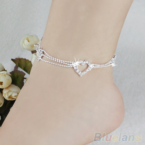 Silver Plated Heart Charm Anklet Jewelry With Rhinestones