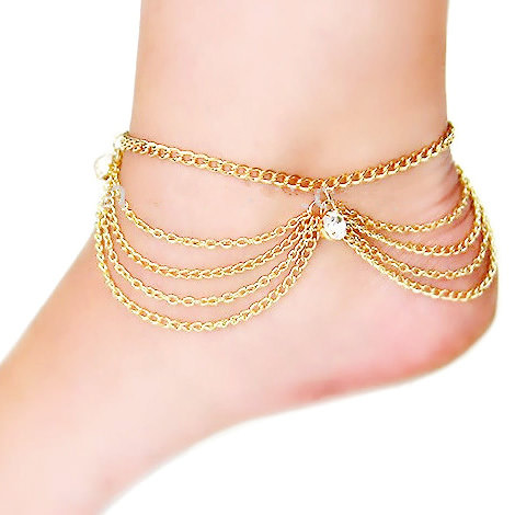 Gold Plated Multi-chain Anklet Jewelry With Rhinestone Crystals