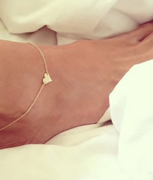 Trendy Gold/ Silver Plated Chain Anklet Jewelry With Heart Accent