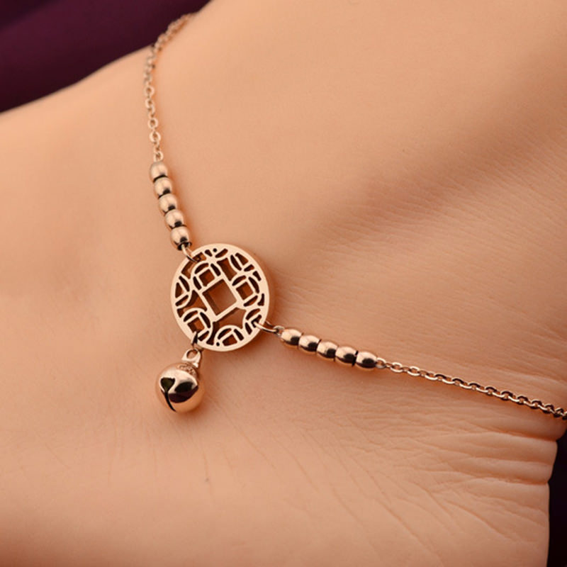 Rose Gold Chain Anklet Jewelry With Round Pendant And Bells