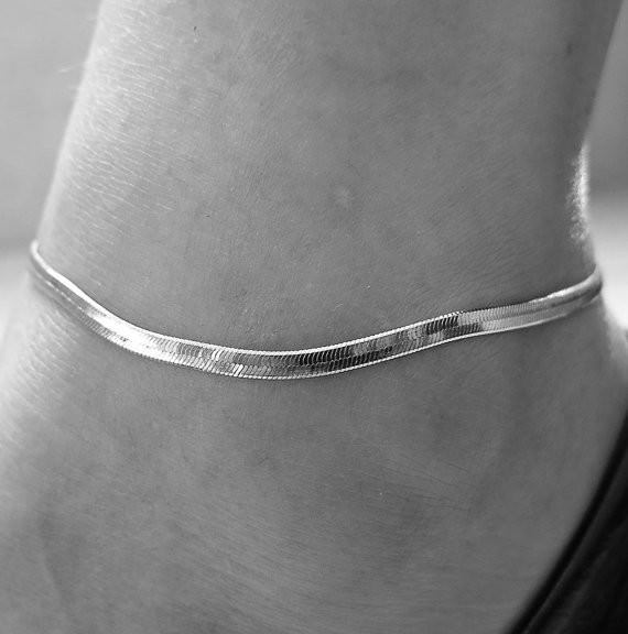 Gold/ Silver Plated Herringbone Chain Anklet