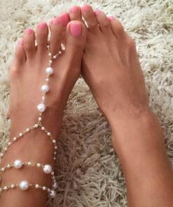 Sophisticated Bridal Pearl Chain Anklet Bracelet