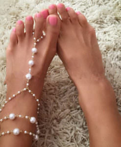 Sophisticated Bridal Pearl Chain Anklet Bracelet