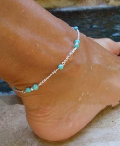 Silver Chain Anklet Jewelry With Turquoise Beads