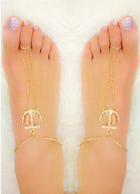 Gold Chain Foot Anklet Jewelry With Anchor Pendant