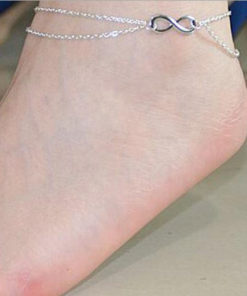 Double Chain Anklet Jewelry With Infinity Loop