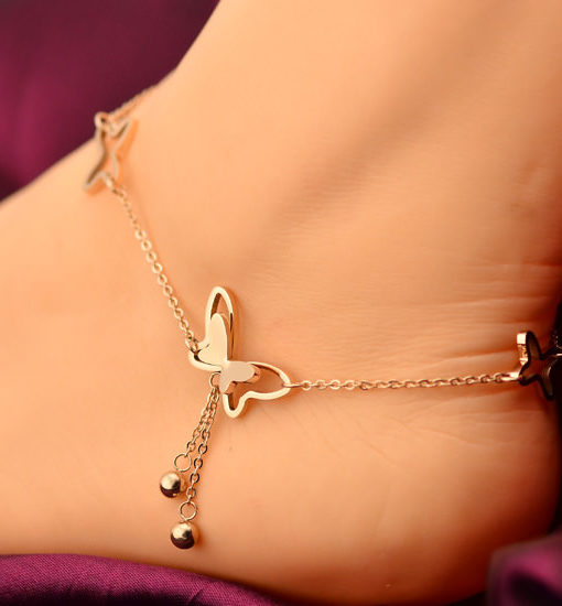 Butterfly Anklet Chain Jewelry With Rhinestone Crystals