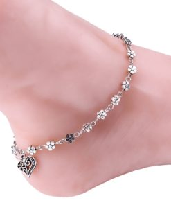 Silver Bead Chain Ankle Bracelet Barefoot