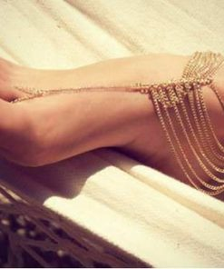 Silver Chain Barefoot Sandal Jewelry With Leaf Branch Pendant