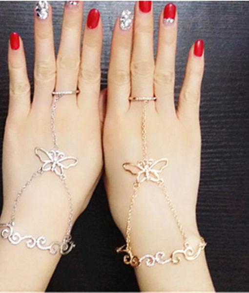 Rhinestone Bracelet with Butterfly Chain