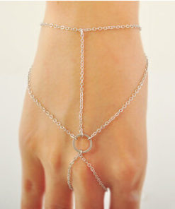 Simple Geometric Chained Hand Jewelry With Circular Accent