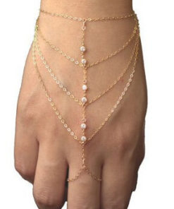 New Bohemian Multi Chain Hand Bracelet With Rhinestones