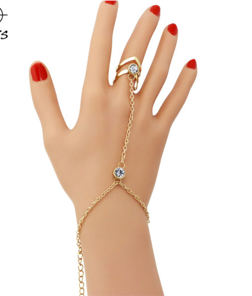Gold Plated Double Ring Jewelry Bracelet With Crystals