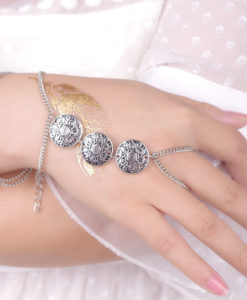 Gypsy Style Chain Hand Bracelet Jewelry With Three Coin Charms