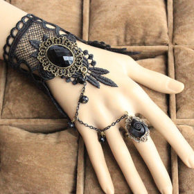 Gothic Style Black Lace European Bracelet With Chain And Floral Ring