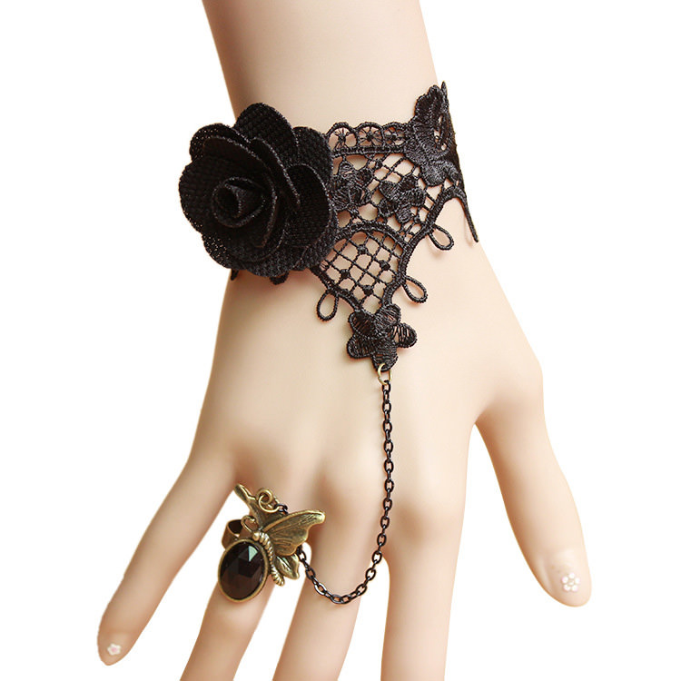 Gothic Lace Slave Bracelet Jewelry With Crystal Ring