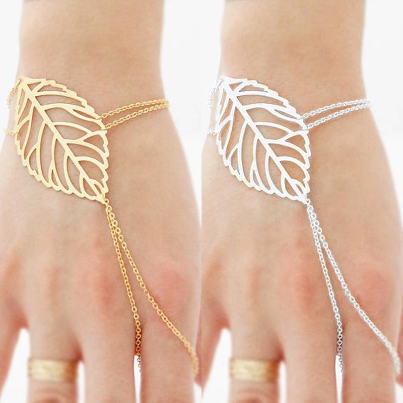 Autumn Leaf Hand Slave Chain Bracelet