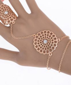 Boho Multi-layer Chain Hand Harness Jewelry With Mandala Accent