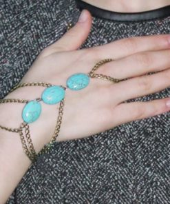 Multi-layer Gold Plated Hand Slave Chain With Turquoise Beads