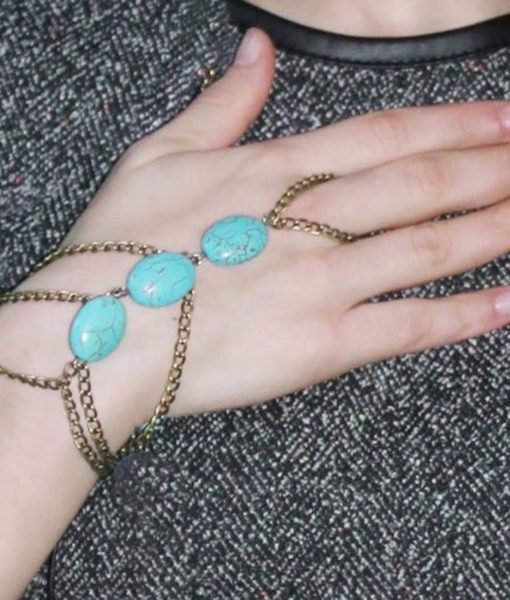 Gold Plated Hand Slave Chain With Turquoise Beads